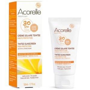 Acorelle Organic Tinted Spf50 Sunscreen Gold 50 Ml