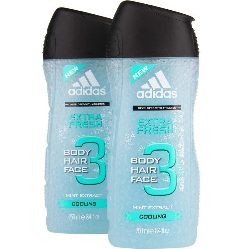 Adidas 3 In 1 Extra Fresh Duo Shower Gel 250 x 2
