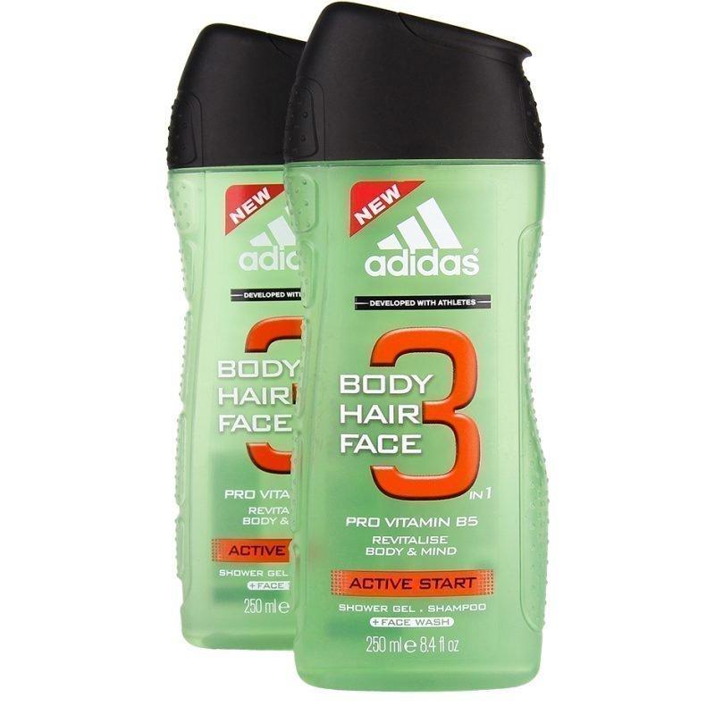 Adidas 3 in 1 Active Start Duo Shower Gel 250 x 2