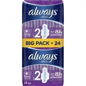 Always Ultra Long Plus Terveysside 24 Kpl