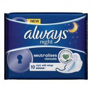 Always Ultra Night Terveysside 10 Kpl