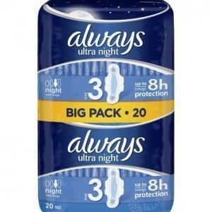 Always Ultra Night Terveysside 20 Kpl