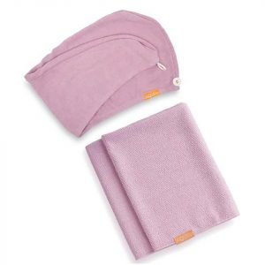 Aquis Lisse Luxe Hair Turban And Hair Towel Desert Rose Bundle