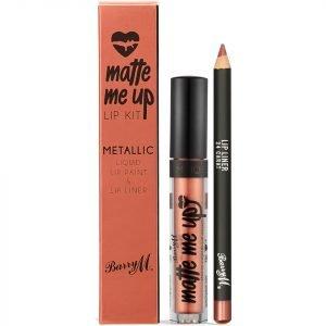 Barry M Cosmetics Matte Me Up Metallic Lip Kit Various Shades 24 Carat