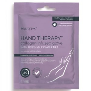 Beautypro Hand Therapy Collagen Infused Glove With Removable Finger Tips 1 Pair
