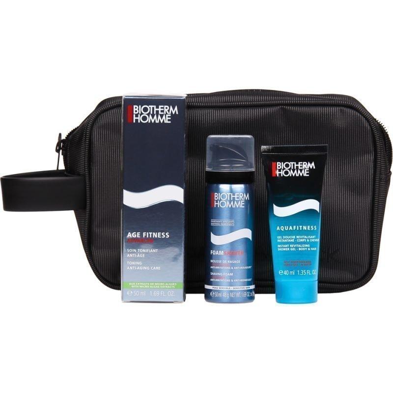 Biotherm Homme Biotherm Homme & Mandarina Duck Age Fitness Advanced 50ml Aquafitness Body & Hair Shower Gel 40ml Shaving Foam Sensitive Skin 50ml Toiletry Bag