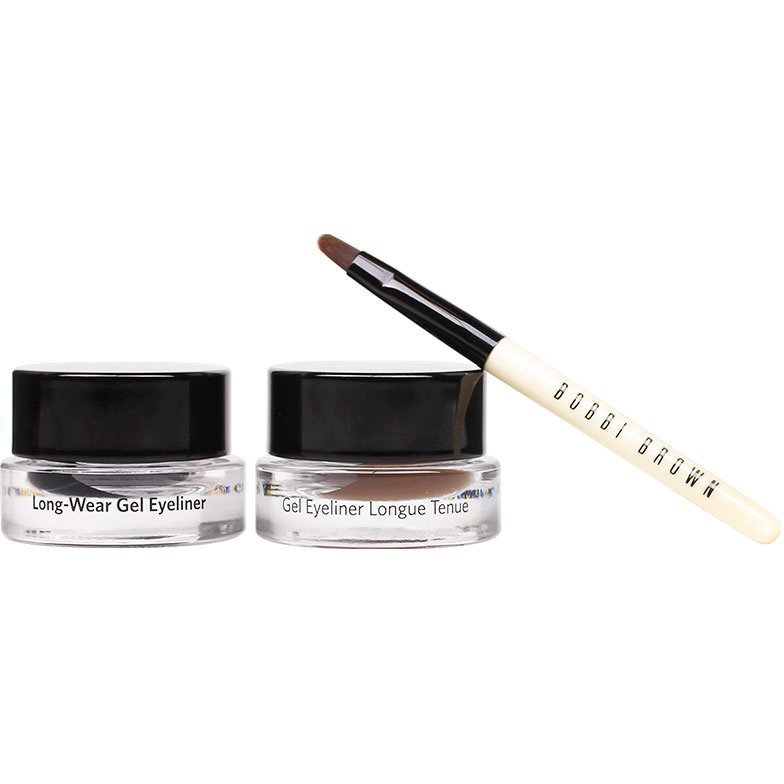 Bobbi Brown Long-Wear Gel Eyeliner Set 2 x Eyeliners 3g Eyeliner Brush