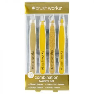 Brushworks Hd Combination Tweezer Set Gold