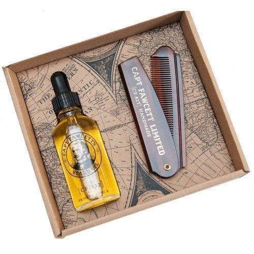 Captain Fawcett Beard Oil & Beard Comb Set