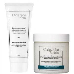 Christophe Robin Cleansing Purifying Sea Salt Scrub 250 Ml And Moisturizing Hair Cream 100 Ml