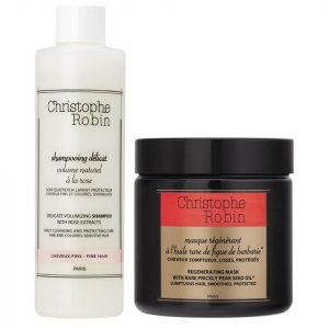 Christophe Robin Regenerating Mask 250 Ml And Delicate Volumizing Shampoo With Rose Extracts 250 Ml