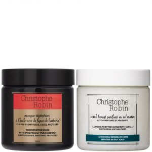 Christophe Robin Sea Salt Scrub 250 Ml & Regenerating Mask With Rare Prickly Pear Seed Oil 250 Ml