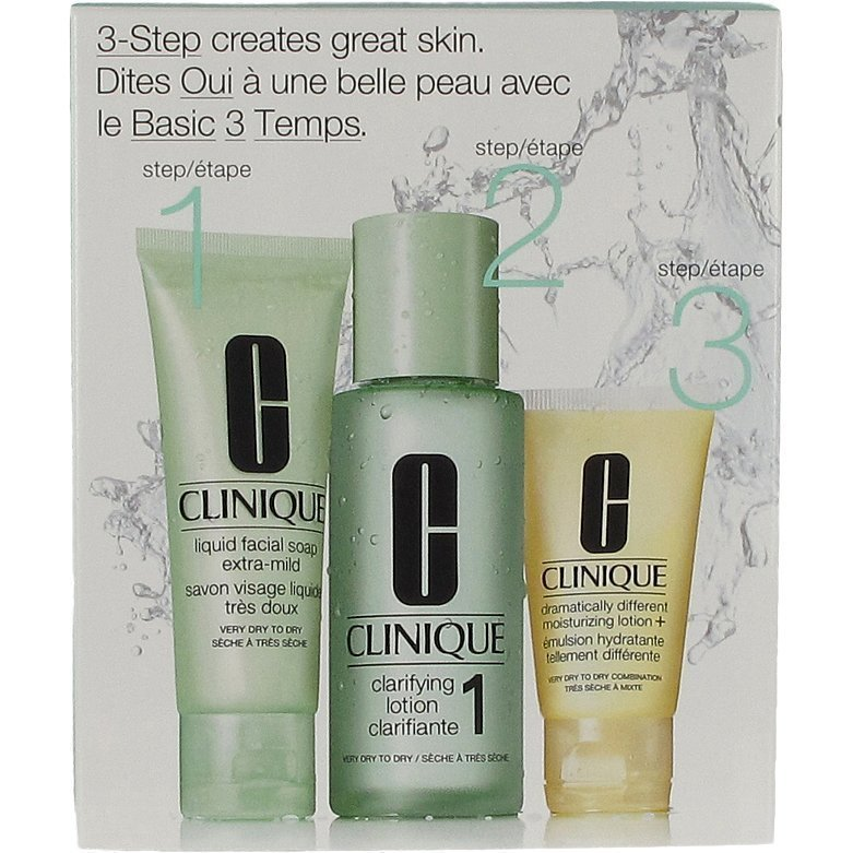 Clinique 3 Step Skin Care 1 Liquid Facial Soap 50 ml Clarifying Lotion 100 ml Dramatically Different Moisturizing Lotion 30 ml