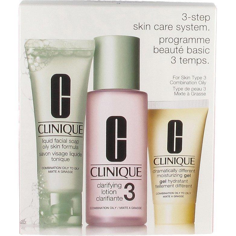 Clinique 3 Step Skin Care 3 Liquid Facial Soap Oily Skin 50ml Clarifying Lotion 3 100ml DDM Gel 30ml