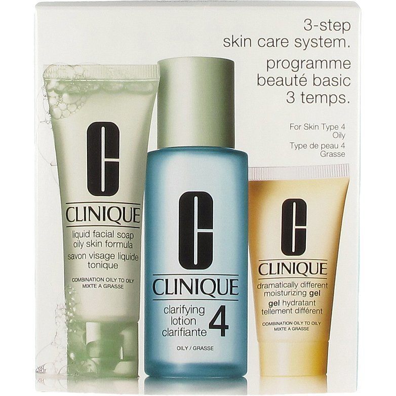 Clinique 3 Step Skin Care System 4 Liquid Facial Soap 50ml Clarifying Lotion 4 100ml Dramatically Different Moisturizing Gel 30ml