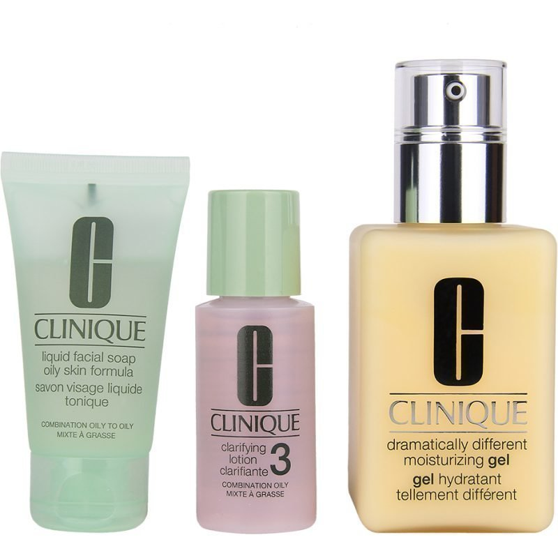 Clinique Great Skin Great Deal Liquid Facial Soap Oily Skin Formula  30ml Clarifying Lotion 30ml Dramatically Different Moisturizing Gel 125ml