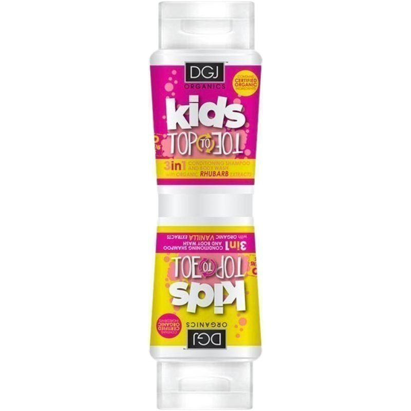 DGJ Organics Kids Top To Toe 3 in 1 Conditioning Shampoo And Body Wash Rhubarb & Custard 250ml