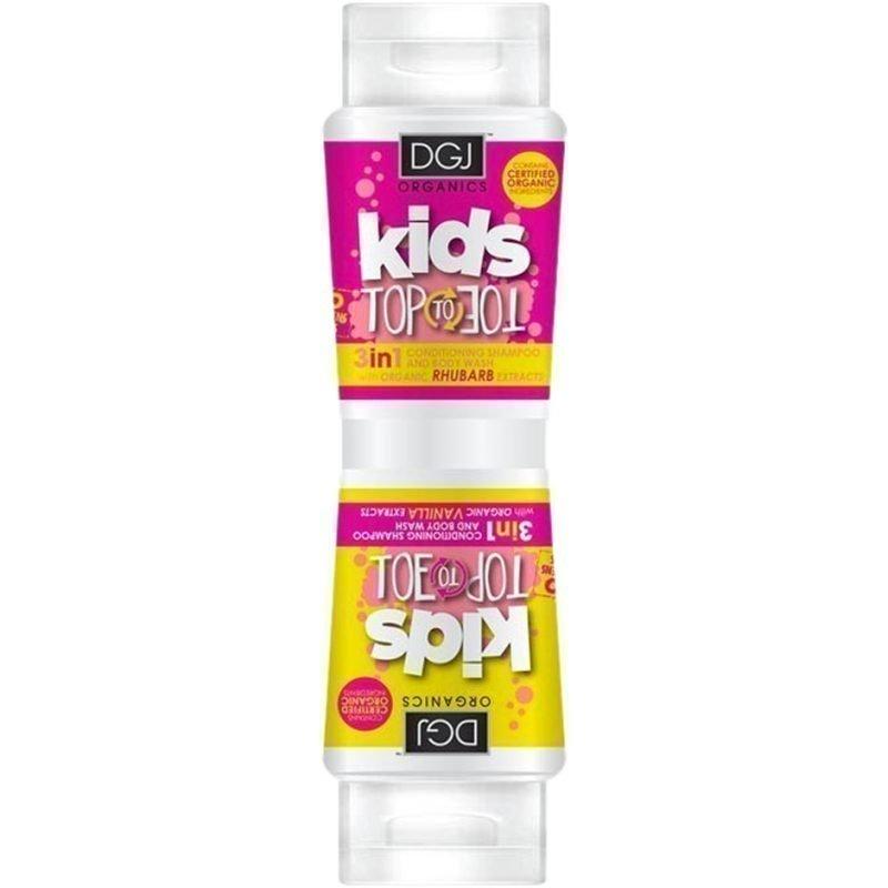 DGJ Organics Kids Top To Toe 3 in 1 Conditioning Shampoo And Body Wash Rhubarb & Custard 250ml