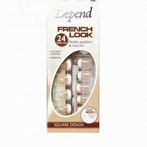 Depend French Look Nails Short Square Design Tekokynnet Beige
