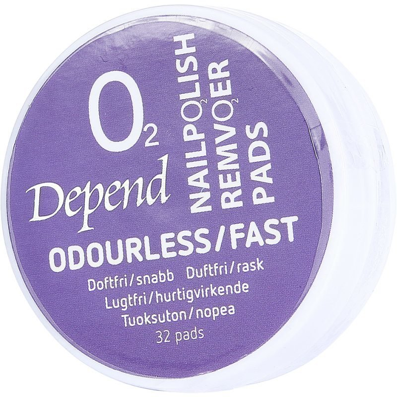 Depend O2 Nail Polish Remover Odourless/Fast 32 Pads