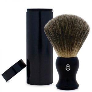 E-Shave Fine Badger Travel Shaving Brush With Canister Black