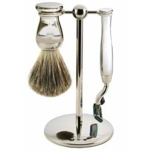 Edwin Jagger 3pc Set Mach 3 Razor Nickel Plated