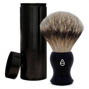Eshave Silvertip Badger Hair Travel Shaving Brush Black
