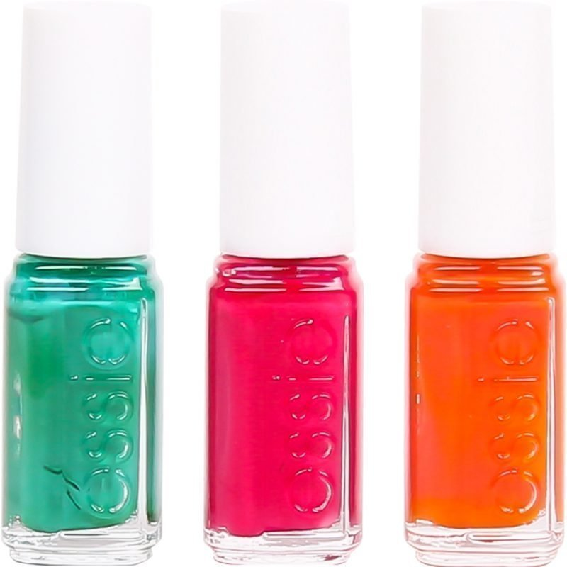 Essie 3 Pieces Set Ruffles & Feathers 5ml Haute In The Heat 5ml Roarrange 5ml