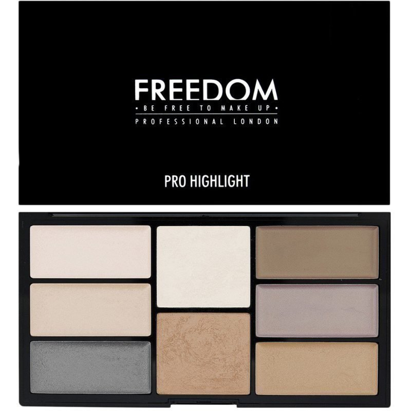 Freedom Makeup London Pro Creme & Highlight 6 Creme To Powder Highlight & 2 Baked Highlight In Pro Palette