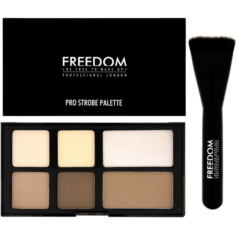 Freedom Makeup London Pro Strobe Palette 2 x Matte Highlighters 1 Shimmer Highlighter 3 x Matte Contours 1 Pro Strobe Brush