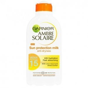 Garnier Ambre Solaire Sun Protection Milk Spf 15 Aurinkoemulsio 200 Ml