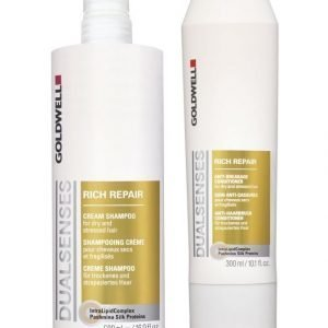 Goldwell Dualsenses Rich Repair Pakkaus: Shampoo 500 ml + Hoitoaine 200 ml