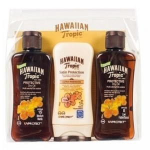 Hawaiian Tropic Mini Kit 3x100 Ml Protective Dry Oil Spf8 / Spf15 + Satin Prot Lotion Sp Aurinkovoide