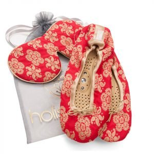 Holistic Silk Eye Mask Slipper Gift Set Scarlet Various Sizes M