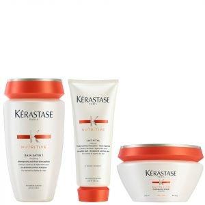 Kérastase Nutritive Bain Satin 1 250 Ml Nutritive Lait Vital And Masquintense Cheveux Fins For Thin Hair 200 Ml