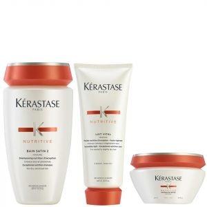 Kérastase Nutritive Bain Satin 2 250 Ml Nutritive Lait Vital And Masquintense Cheveux Epais For Thick Hair 200 Ml