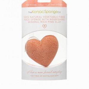 Konjac Sponge Premium Heart Puff With French Pink Clay Ihonpuhdistussieni Vaaleanpunainen