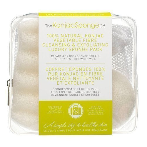 Konjac Sponge Travel/Gift Sponge Bag Duo Pack 100% Pure