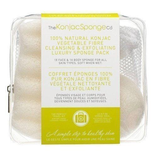 Konjac Sponge Travel/Gift Sponge Bag Duo Pack 100% Pure