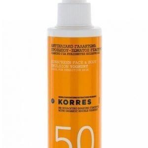 Korres Suncare Spray Youghurt Spf 50 150 Ml Aurinkovoide