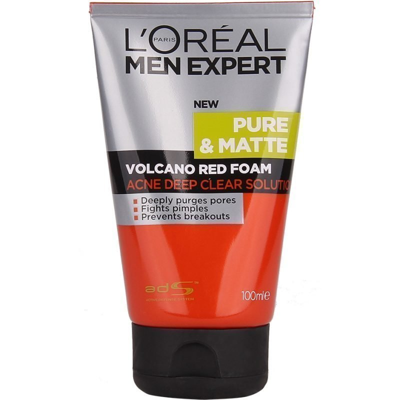 L'Oréal Paris Men Expert Pure & Matte Volcano Red Foam Acne Deep Clear Solution 100ml