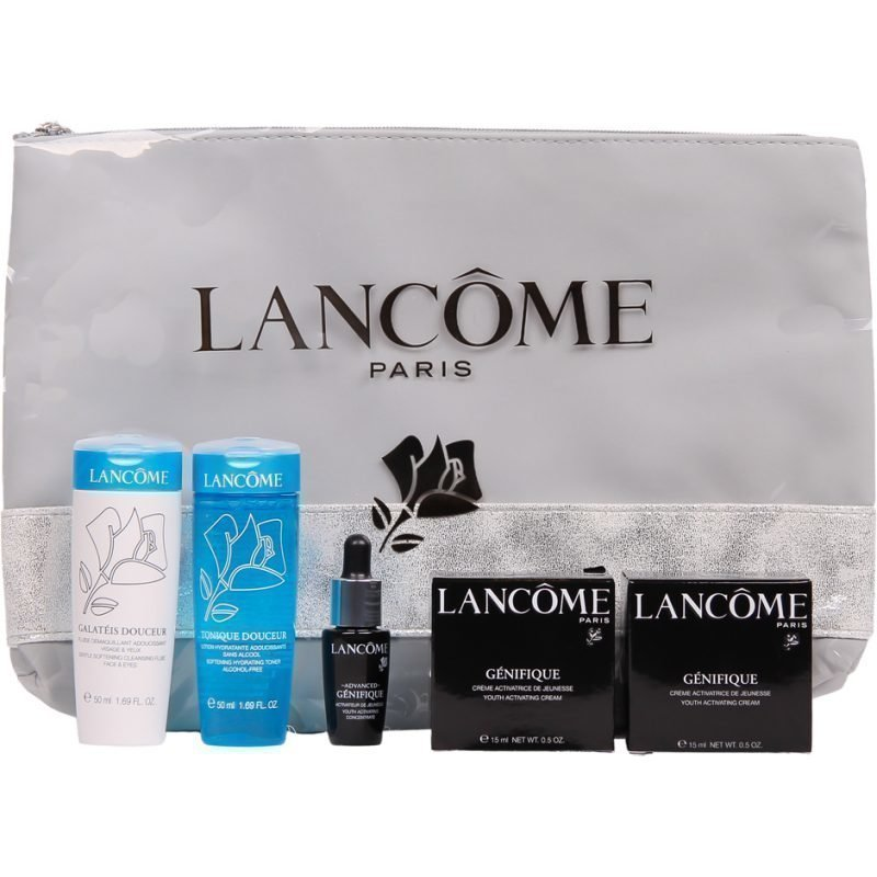 Lancôme Génifique Genifique Youth Activating Cream 15ml Galateis Douceur Clean. Fluid Face & Eyes 50ml Tonique Douceur 50ml Genifique Advanced Youth Activating Concentrate 7ml Toiletry Bag
