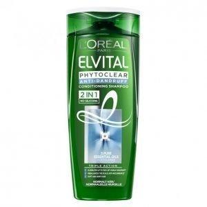 Loreal Elvital Phytoclear 2in1 Hilseshampoo Normaaleille Hiuksille 250 Ml