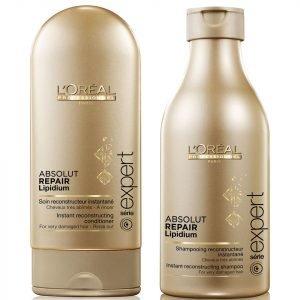 L'oreal Professionnel Absolut Repair Lipidium Shampoo 250 Ml & Conditioner 150 Ml Bundle