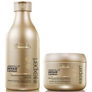L'oreal Professionnel Absolut Repair Lipidium Shampoo 250 Ml & Masque 200 Ml Bundle