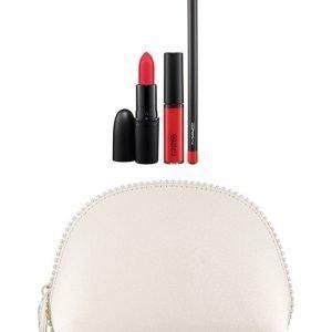 Mac Keepsakes/Red Lip Bag Meikkipussi Ja Kolme Huulituotetta