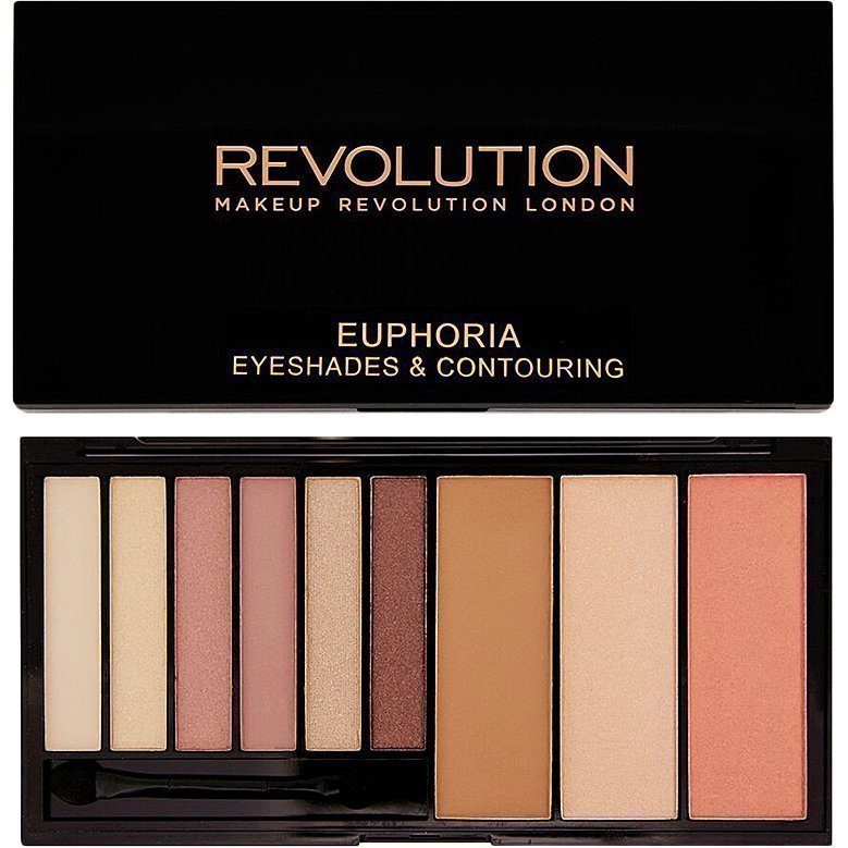 Makeup Revolution Euphoria Palette Bare Euphoria Eyeshades & Contouring. 6 Eyeshadows Blush Bronze & Highlighting Powders.