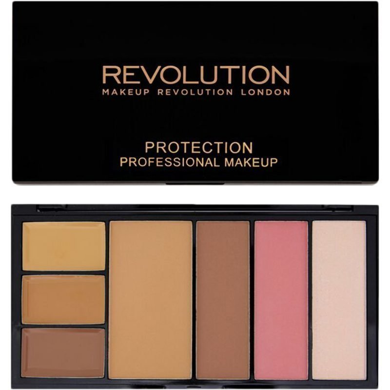 Makeup Revolution Protection Professional Makeup 3 Super Blending Concealers & Silk Touch Anti Shine Powder & Contouring Kit Medium/Dark