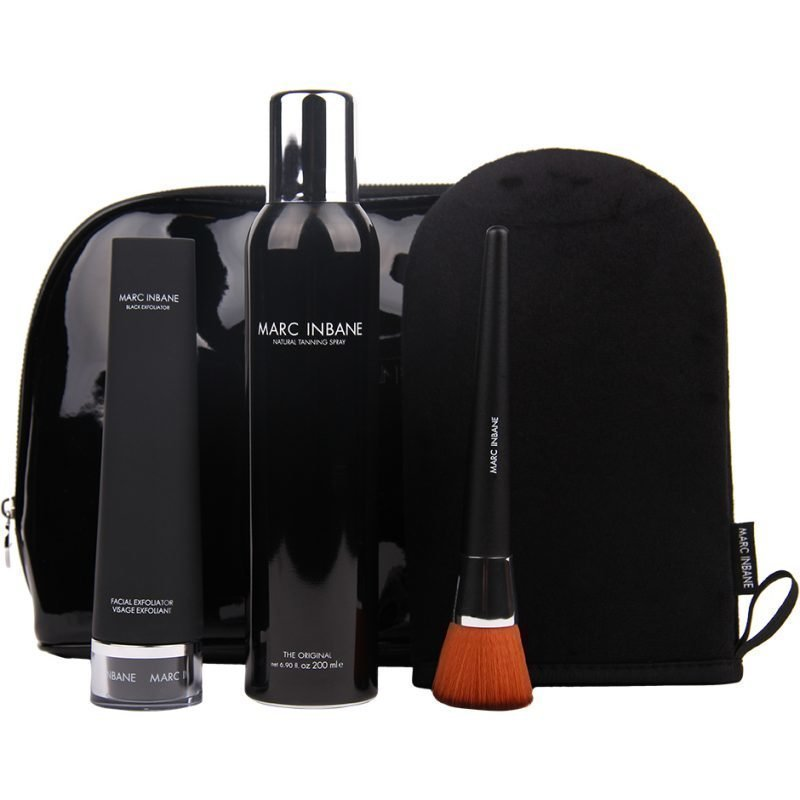 Marc Inbane Elegance Set Natural Tanning Spray 200ml Powder Brush Glove Black Exfoliator 75ml Cosmetic Bag