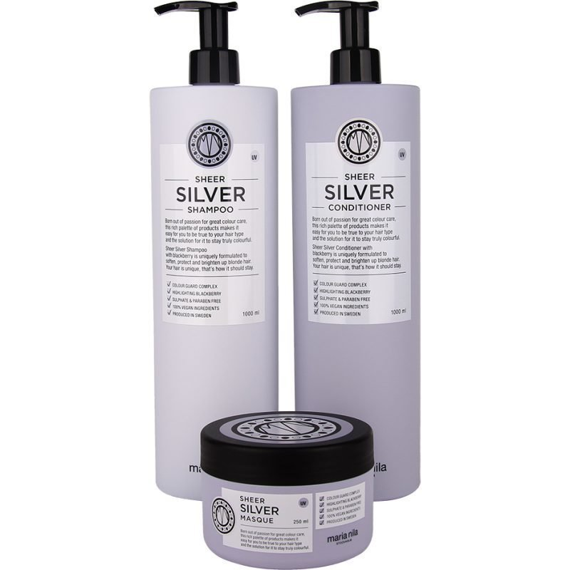Maria Nila Sheer Silver Trio Shampoo 1000ml Conditioner 1000ml Masque 250ml